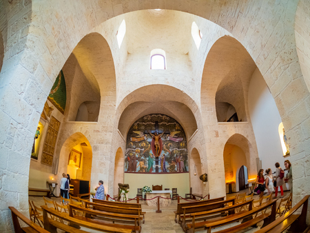 Alberobello, Italy - August 15, 2018: Inside of Trullo-church in Trulli village of Alberobello. Tourists visiting indoor of the famous architecture. 에디토리얼