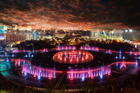 Aerial night view of Piata Unirii square and cityscape in Bucharest, Romania