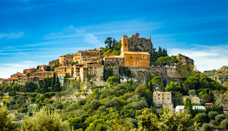 Landscape of historical medieval village of Eze on French riviera 에디토리얼