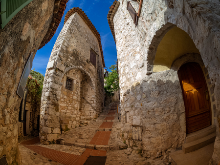 Medieval architecture inside Eze citadel and village, with walls made of stones, in Nice in France