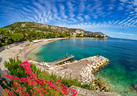 Wide panorama over Saint-Jean-Cap-Ferrat beach, on the Azur French coast in Nice