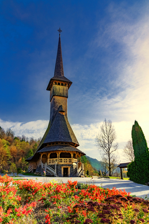 Vertical picture with Barsana monastery from Maramures, in Sigetu Marmatiei, Romania