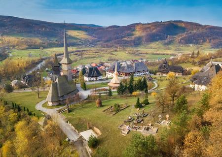 Aerial view of Barsana monastery in Maramures region, Sighetul Marmatiei - Romania