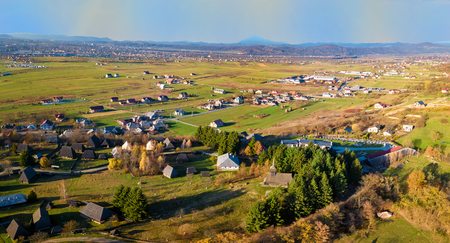 Aerial view of Village museum in Sighetu Marmatie, Maramures region, Romania