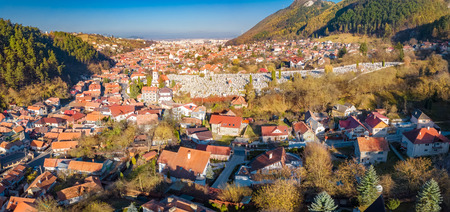 Aerial view of Brasov cityscape, old historical city of Transylvania, in Romania Stock Photo
