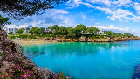 Beautiful panorama of Cala Dor beach and Cala dOr city, Palma Mallorca Island, Spain