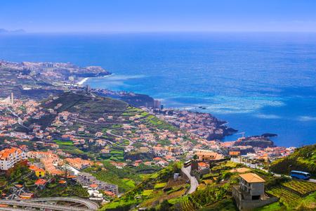 Beautiful aerial view over Camara de Lobos region in Madeira island, Portugal 스톡 콘텐츠
