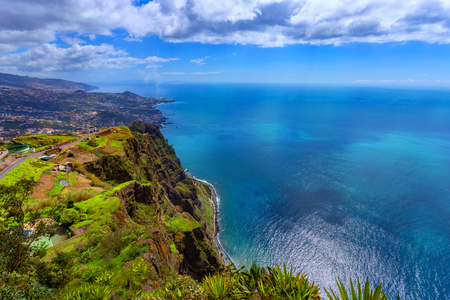 Panoramic view of the coastline in Madeira island from Cabo Girao view point, Portugal