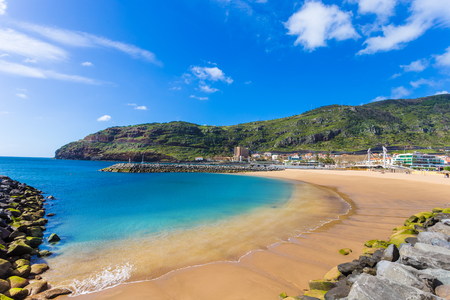 Machico bay, famous beach of Madeira island in Portugal 스톡 콘텐츠