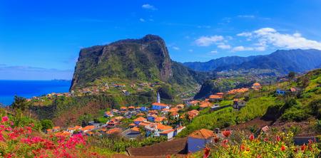 Panorama of Madeira island, Santana and Lombo Galeo region from the air in summer season, Portugal