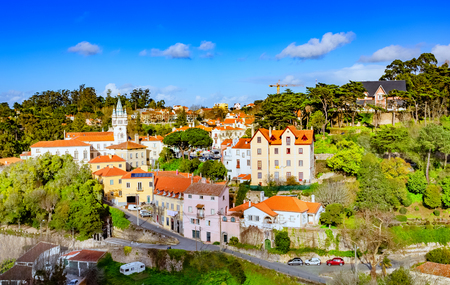 Cityscape over the old city of Sintra National Palace in Portugal
