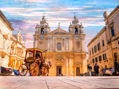 Beautiful famous Saint Poul Cathedral in Mdina village of Malta, Europe