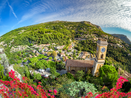 Aerial view of Eze village and the surroundings on French Riviera on Cote d`Azur in summertime 스톡 콘텐츠