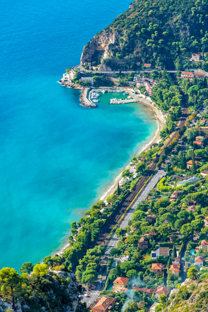 Aerial view of the coastline of French Riviera, Cote d`Azure area on the seaside in France 스톡 콘텐츠