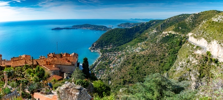 Panoramic aerial view of French Riviera, from Eze village in summer season, surroundings among the coast of the region, in France