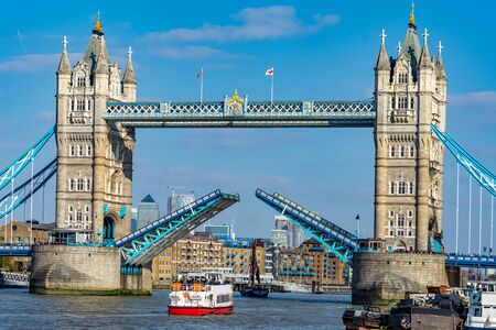 Close-up view of the famous landmark of London Tower Bridge with open gates in England, UK