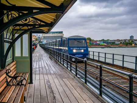 Southend, England - August 16, 2019: Southend Pier Railway station on the west shore of England