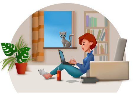 Cartoon of young woman working from home  on laptop and a cat sitting at window