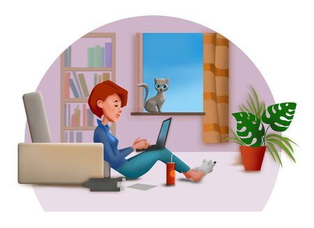 Cartoon of young girl studying on a computer at home Imagens