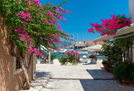 Beautiful Kefalonia sea port village in a sunny day in summer holiday in Greece
