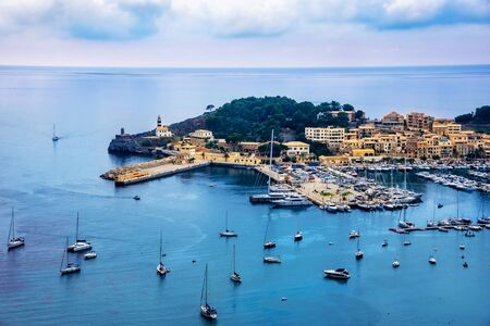 Aerial view of the famous Port de Soller on Majorca island in Spain Imagens