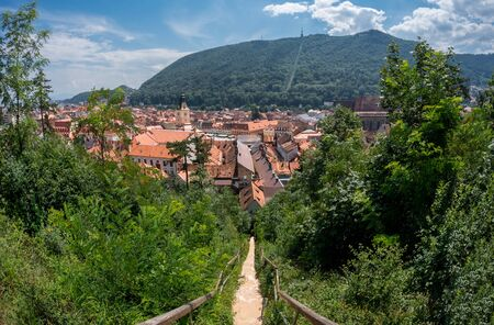 Panoramic wide view of Brasov city