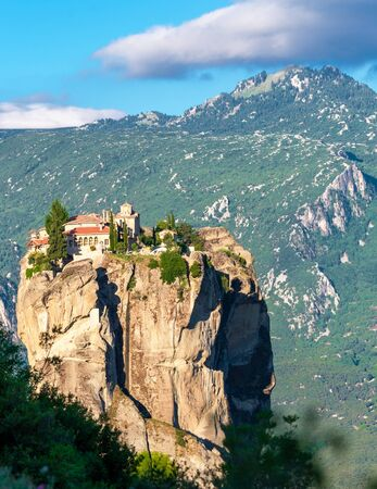 Monastery building on the hill of religious site in Meteora, Greece