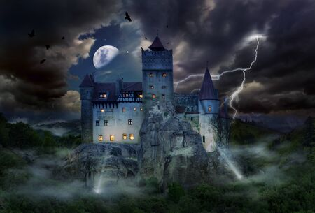 Famous historical castle of Dracula in Bran town, the legendary landmark of Transylvania in Romania