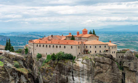 Panoramic view of Meteor religious monastery in Greece Editorial