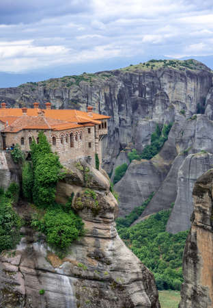 Religious  monastery in Meteora village in Greece