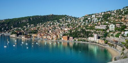 Panoramic aerial view of the famous French riviera of Cote'd Azur in summer holiday