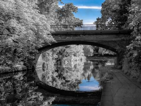 Unique edit of a Bridge over the canal in Camden town area of London