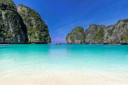Maya Bay beach on the coast of Thailand in summertime