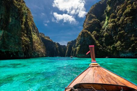 Beautiful wide view of Loh Samah Bay on Phi Phi island, of Thailand in Asia Imagens
