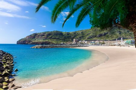 Beautiful Machico bay resort, one of the famous beach of Madeira island in summer holiday