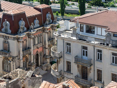 Top view of houses roof part of historical site in Constanta city in Romania