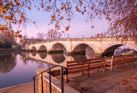 Autumn scene with the historical bridge architecture in Richmond Upon Thames, London