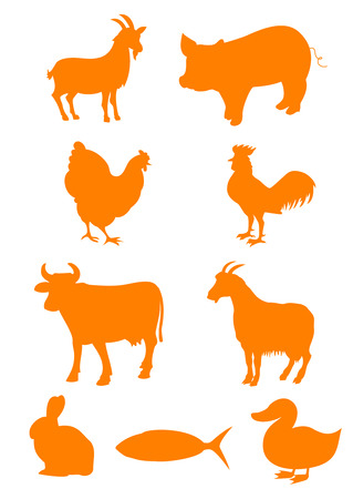 Set of farm animal shapes Vectores