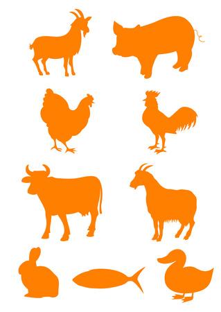 Set of farm animal shapes Vector