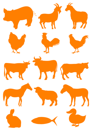 Set of farm animal shapes Illustration