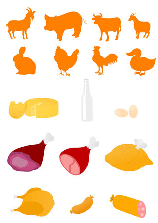 goat cheese: Set of farm animals and food industry products  Illustration