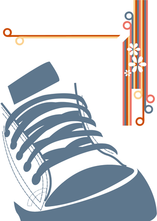 shoelaces: Grunge illustration with sneaker and stripes