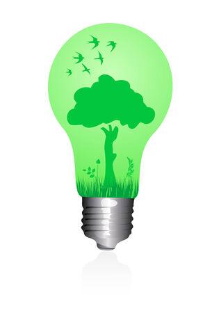Illustration of a ecological light bulb  Vector