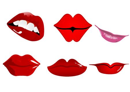 Zes soorten lippen die kunnen worden gebruikt in verschillende domeinen.  Vector Illustratie