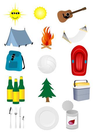 ausflug: Detaillierte camping und Ausflug-Elemente Illustration
