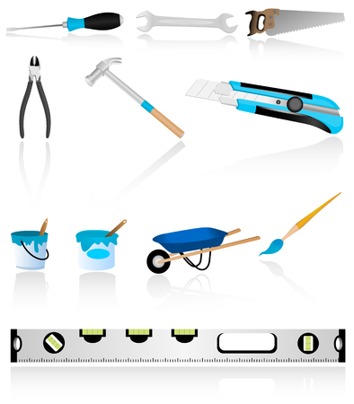 repair tools: Illustration of repair tools with many details Illustration