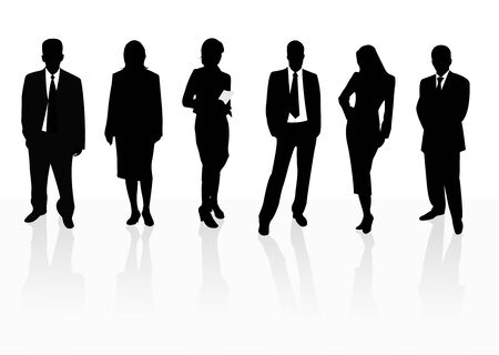 corporations: Illustration of business men and women, isolated on white background, with reflection