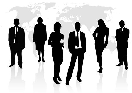 Illustration of business men and women, with reflection and world map as background Vector
