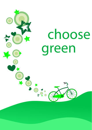 Ecological background with green bicycle  Illustration