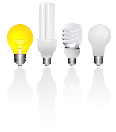 Four types of light bulbs, with shadow